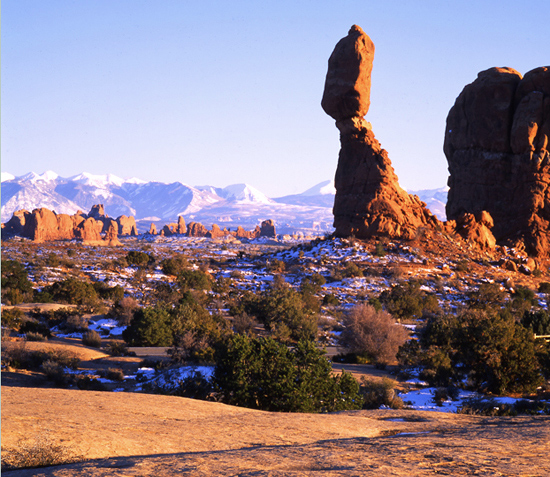 Sunset on Balanced Rock in Arches National Park.