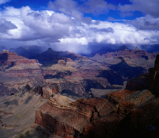 Winter storm approaching the Grand Canyon.
