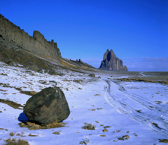 Shiprock in Winter.