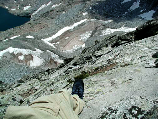 View down from straddling the Knife Edge on Capitol Peak